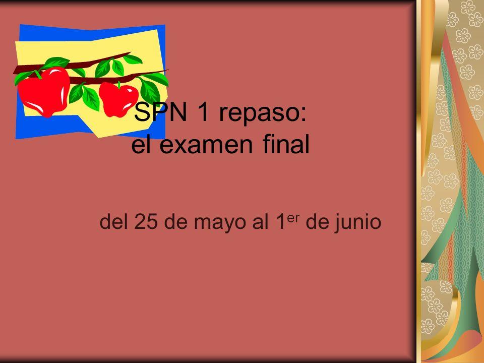 SPN 1 repaso: el examen final del 25 de mayo al 1 er de junio