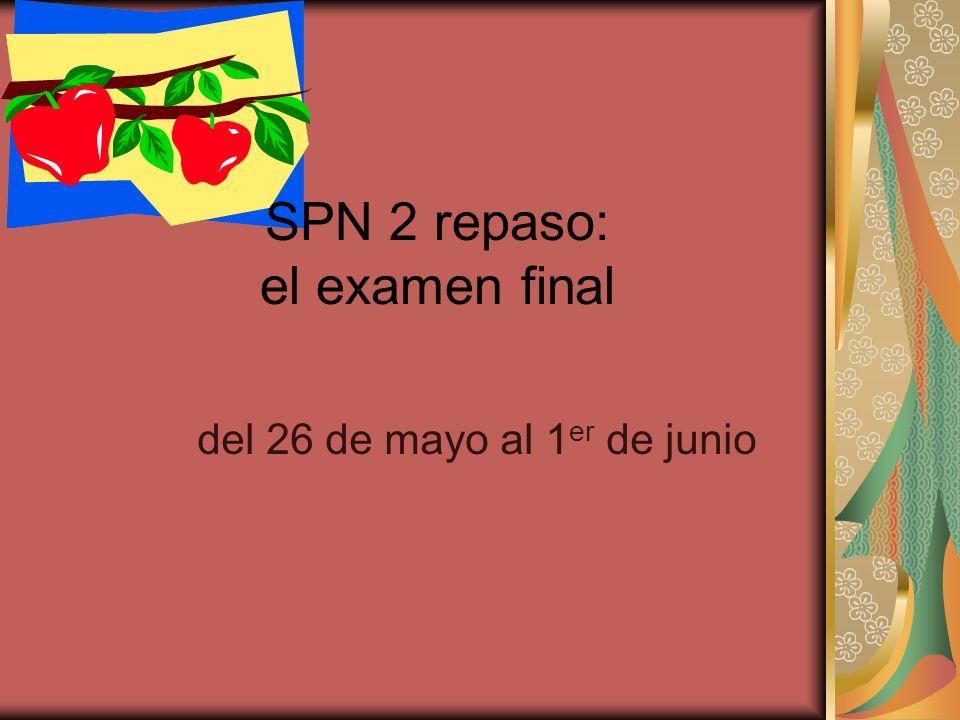 SPN 2 repaso: el examen final del 26 de mayo al 1 er de junio