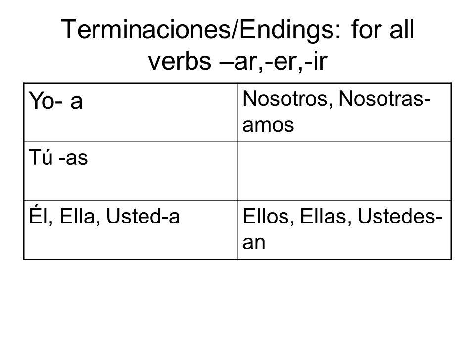 Terminaciones/Endings: for all verbs –ar,-er,-ir Yo- a Nosotros, Nosotras- amos Tú -as Él, Ella, Usted-aEllos, Ellas, Ustedes- an