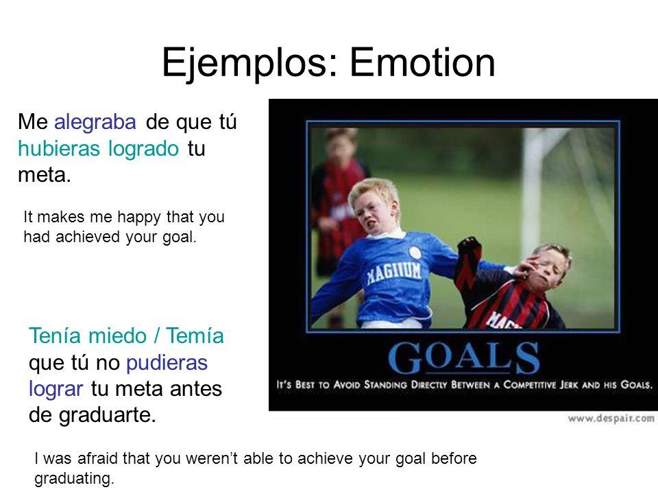 Ejemplos: Emotion Me alegraba de que tú hubieras logrado tu meta. Tenía miedo / Temía que tú no pudieras lograr tu meta antes de graduarte. It makes m