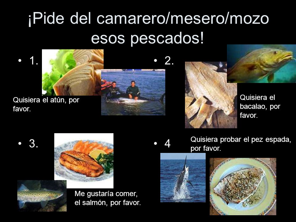 ¡Pide del camarero/mesero/mozo esos pescados! 1. 3. 2. 4 Quisiera el atún, por favor. Quisiera el bacalao, por favor. Me gustaría comer, el salmón, po