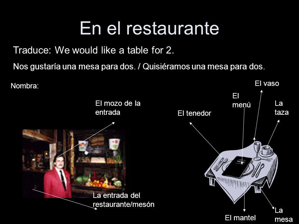 En el restaurante Traduce: We would like a table for 2. Nos gustaría una mesa para dos. / Quisiéramos una mesa para dos. El mozo de la entrada La entr