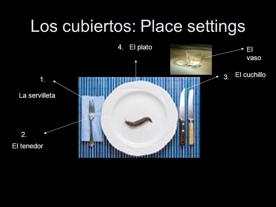 Los cubiertos: Place settings 1. 2. 3. 4. La servilleta El tenedor El cuchillo El plato El vaso