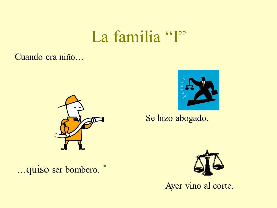 Los verbos irregulares de familia Grupo jota j Traje, trajiste, trajo, trajimos, trajisteis, trajeron Grupo i Quise, quisiste, quiso, quisimos, quisie