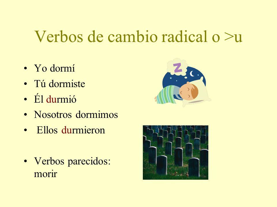 Verbo –IR Cambio Radical PEDIR-to ask for Yo pedíNosotros pedimos Tú pedisteVosotros pedisteis Él pidióEllos pidieron ________________________________