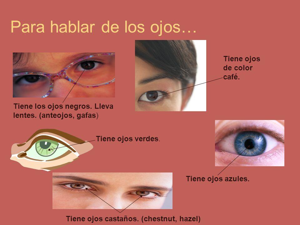 Para hablar de los ojos… Tiene los ojos negros. Lleva lentes. (anteojos, gafas) Tiene ojos de color café. Tiene ojos verdes. Tiene ojos azules. Tiene