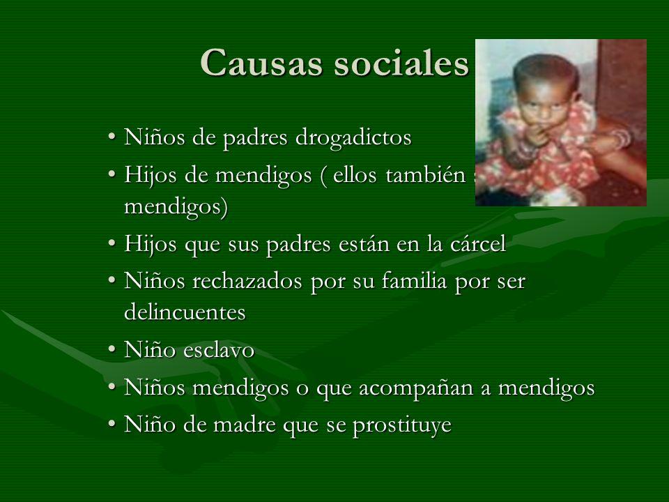 Causas sociales Niños de padres drogadictosNiños de padres drogadictos Hijos de mendigos ( ellos también se volverán mendigos)Hijos de mendigos ( ello