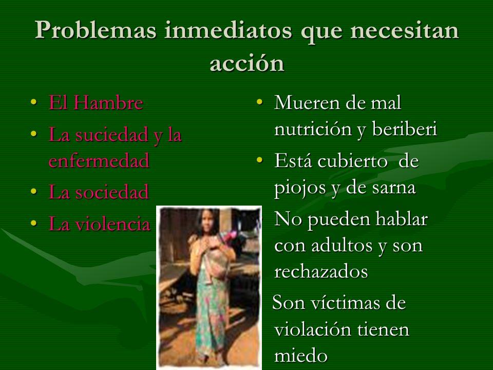 Problemas inmediatos que necesitan acción El HambreEl Hambre La suciedad y la enfermedadLa suciedad y la enfermedad La sociedadLa sociedad La violenci