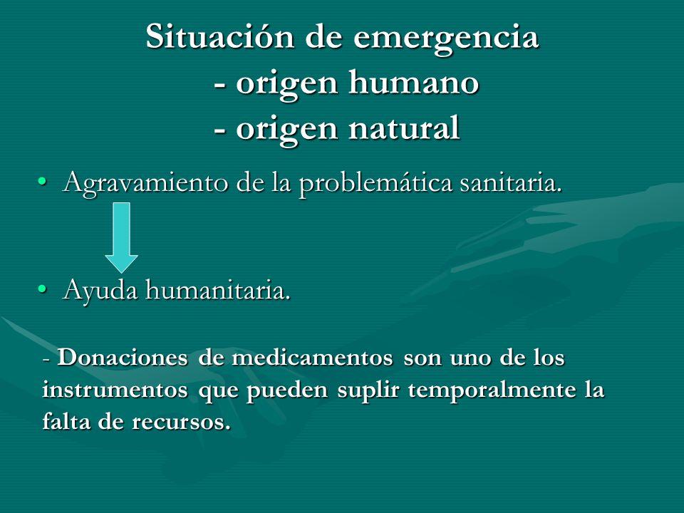 Situación de emergencia - origen humano - origen natural Agravamiento de la problemática sanitaria.Agravamiento de la problemática sanitaria.