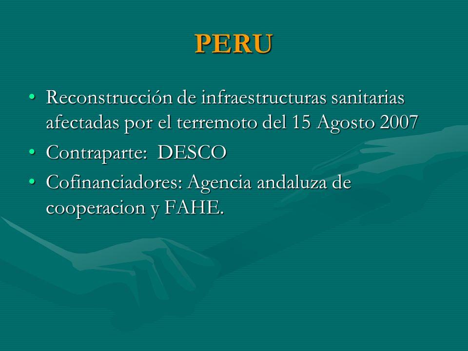 PERU Reconstrucción de infraestructuras sanitarias afectadas por el terremoto del 15 Agosto 2007Reconstrucción de infraestructuras sanitarias afectadas por el terremoto del 15 Agosto 2007 Contraparte: DESCOContraparte: DESCO Cofinanciadores: Agencia andaluza de cooperacion y FAHE.Cofinanciadores: Agencia andaluza de cooperacion y FAHE.