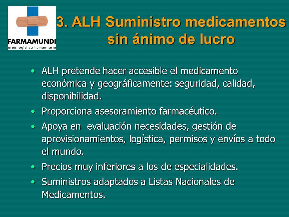 3. ALH Suministro medicamentos sin ánimo de lucro ALH pretende hacer accesible el medicamento económica y geográficamente: seguridad, calidad, disponi