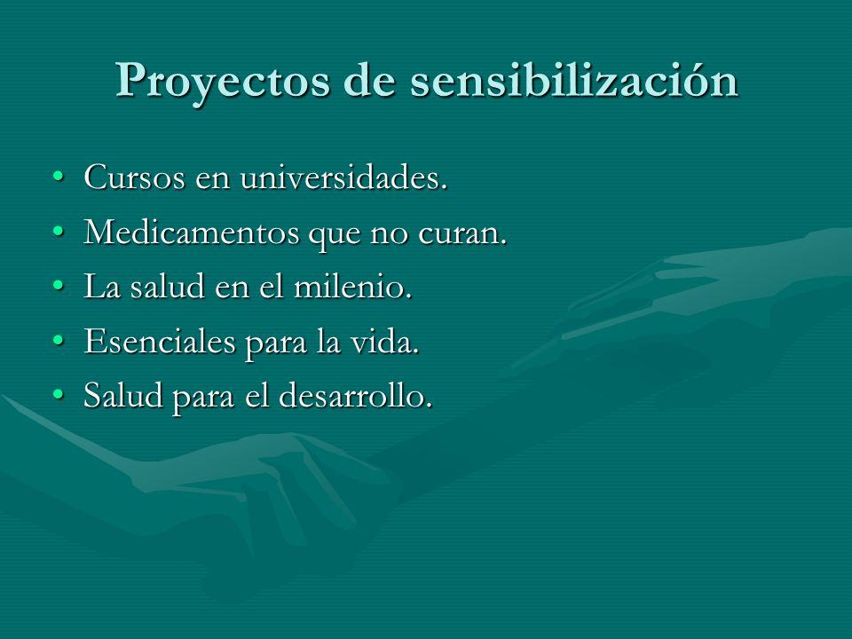 Proyectos de sensibilización Cursos en universidades.Cursos en universidades.