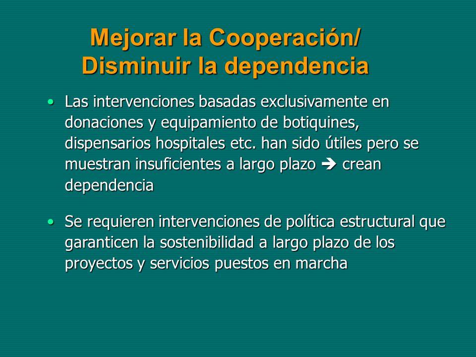 Mejorar la Cooperación/ Disminuir la dependencia Las intervenciones basadas exclusivamente en donaciones y equipamiento de botiquines, dispensarios hospitales etc.