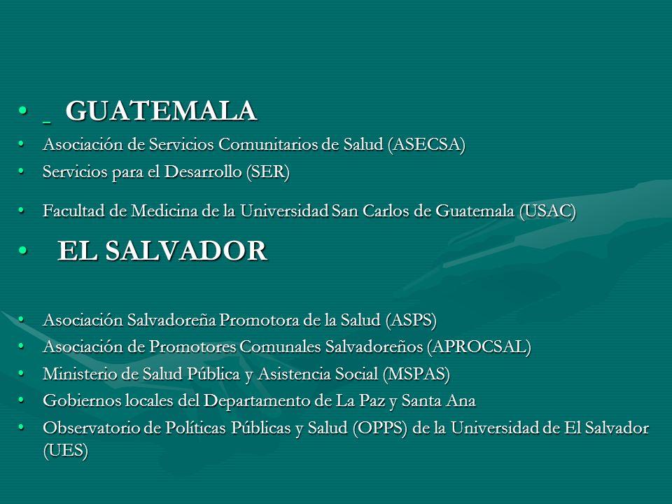GUATEMALA GUATEMALA Asociación de Servicios Comunitarios de Salud (ASECSA)Asociación de Servicios Comunitarios de Salud (ASECSA) Servicios para el Desarrollo (SER)Servicios para el Desarrollo (SER) Facultad de Medicina de la Universidad San Carlos de Guatemala (USAC)Facultad de Medicina de la Universidad San Carlos de Guatemala (USAC) EL SALVADOR EL SALVADOR Asociación Salvadoreña Promotora de la Salud (ASPS)Asociación Salvadoreña Promotora de la Salud (ASPS) Asociación de Promotores Comunales Salvadoreños (APROCSAL)Asociación de Promotores Comunales Salvadoreños (APROCSAL) Ministerio de Salud Pública y Asistencia Social (MSPAS)Ministerio de Salud Pública y Asistencia Social (MSPAS) Gobiernos locales del Departamento de La Paz y Santa AnaGobiernos locales del Departamento de La Paz y Santa Ana Observatorio de Políticas Públicas y Salud (OPPS) de la Universidad de El Salvador (UES)Observatorio de Políticas Públicas y Salud (OPPS) de la Universidad de El Salvador (UES)