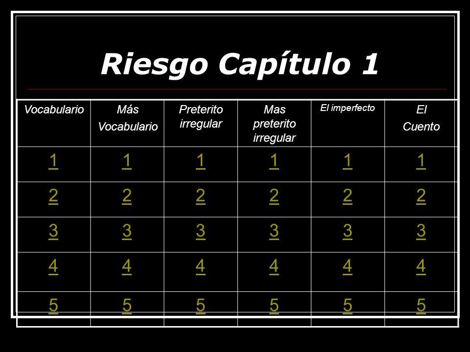 Más Vocabulario 1 The goal