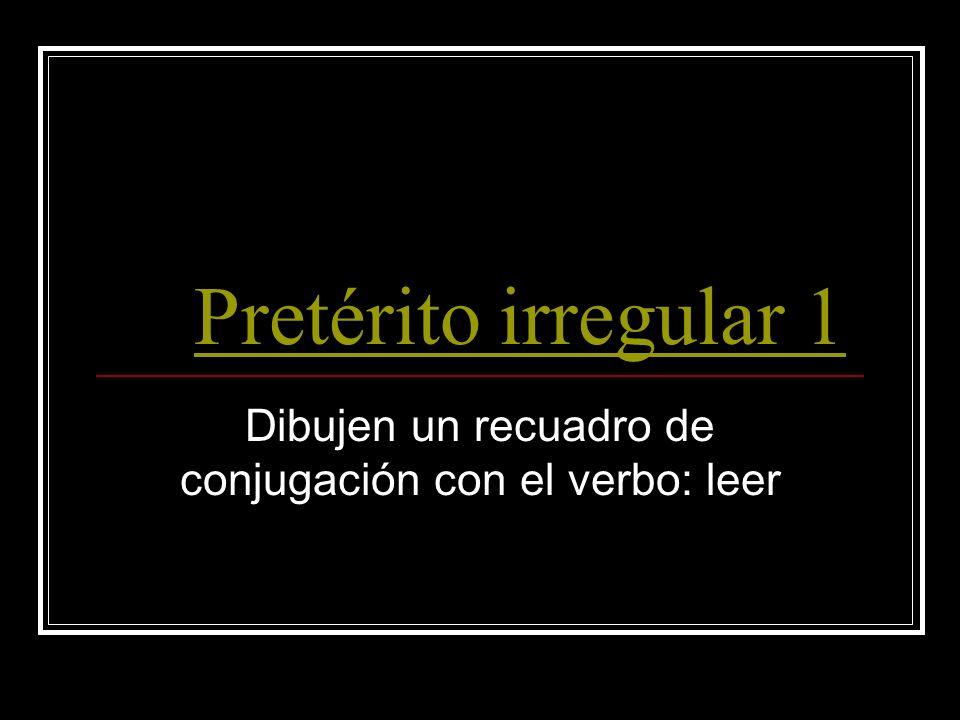 Pretérito irregular 1 Dibujen un recuadro de conjugación con el verbo: leer