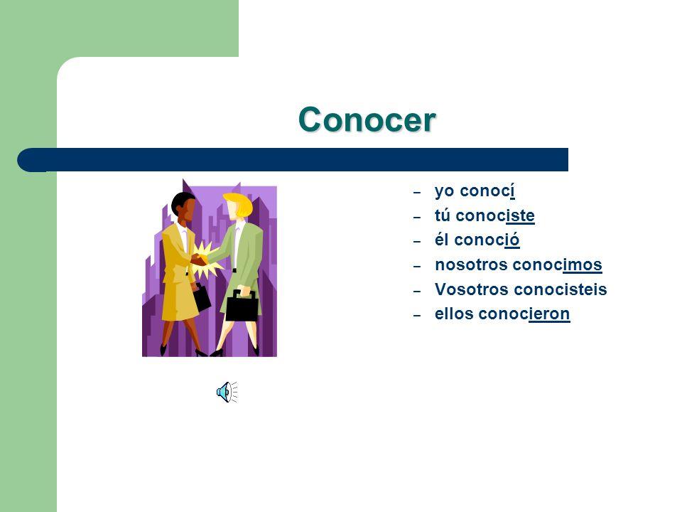 Lets practice! Conocer – yo _______ – tú _______ – él _______ – nosotros _______ – vosotros _______ – ellos _______