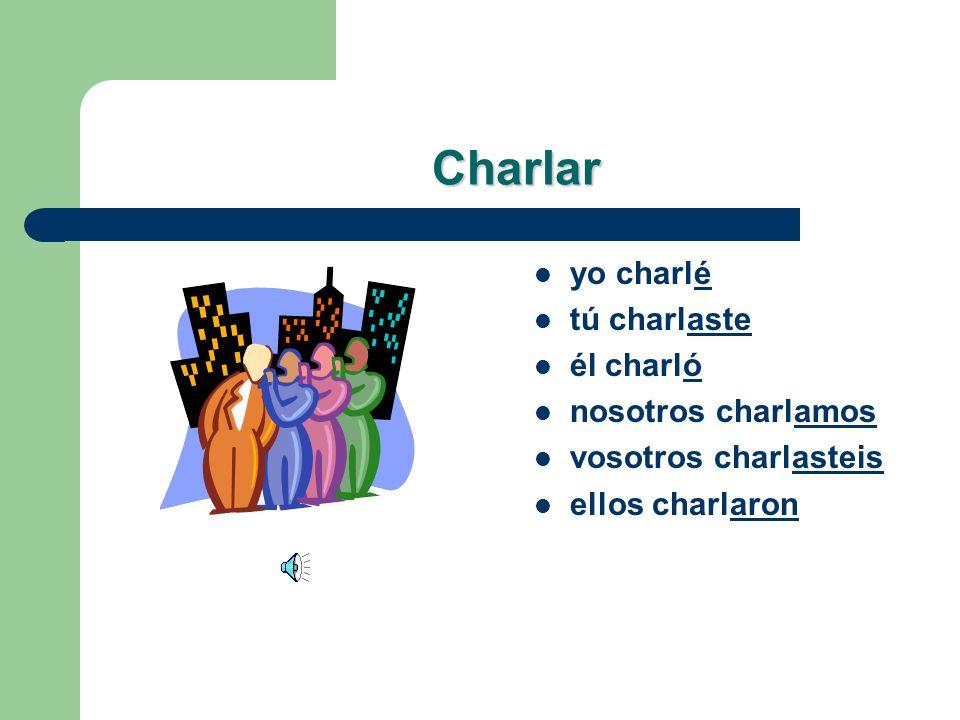 Lets Practice! Charlar – yo _______ – tú _______ – él _______ – nosotros _______ – vosotros _______ – ellos _______