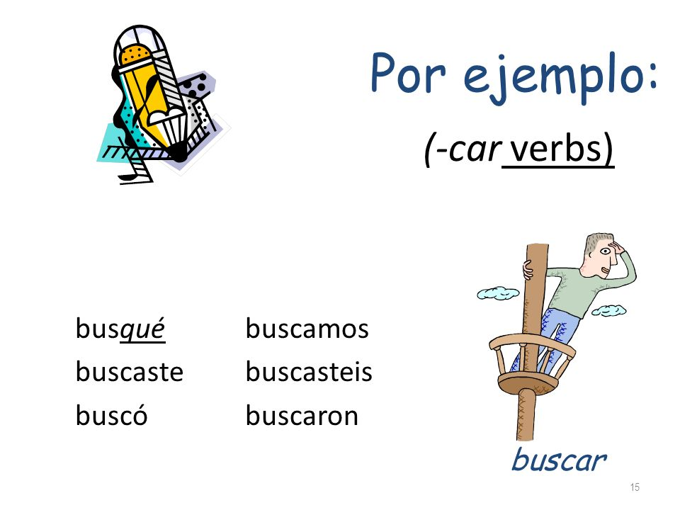 Common –car verbs pescar – to fish practicar – to practice sacar – to take out tocar – to play (an instrument) explicar – to explain Common –gar verbs entregar – to hand in, deliver jugar – to play (a game) llegar – to arrive pagar – to pay Common –zar verbs comenzar – to begin, start empezar – to begin, start almorzar – to have lunch