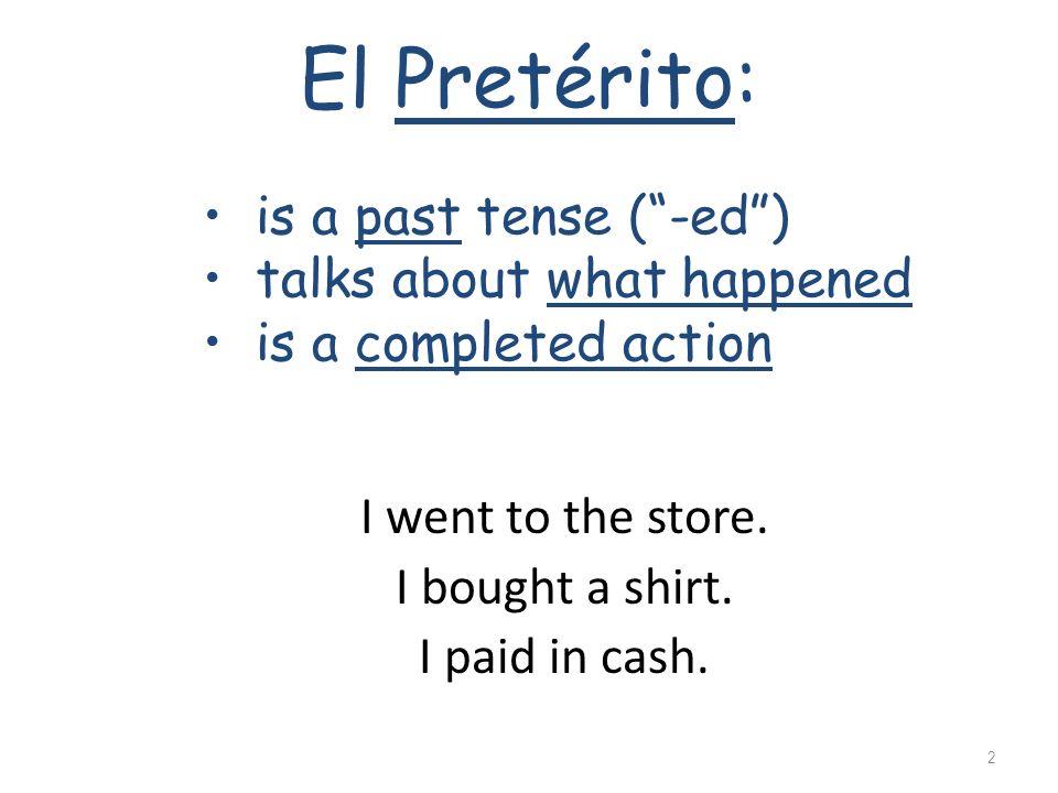 El Pretérito de los verbos 1
