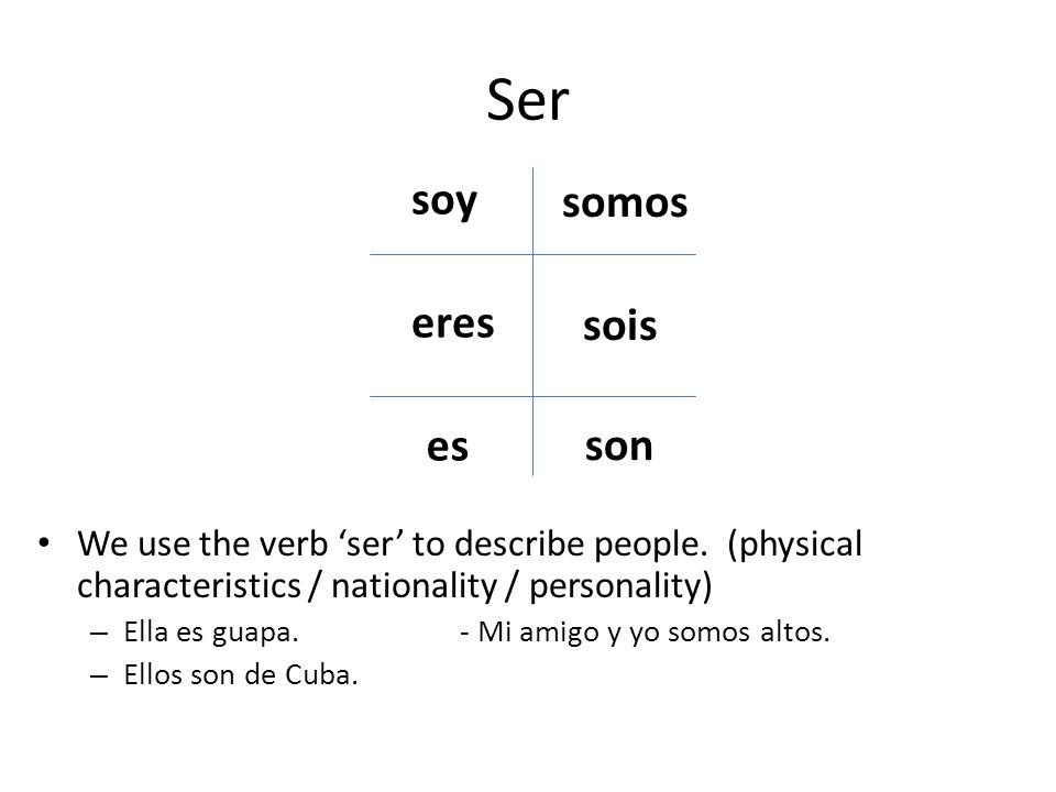 Ser We use the verb ser to describe people.