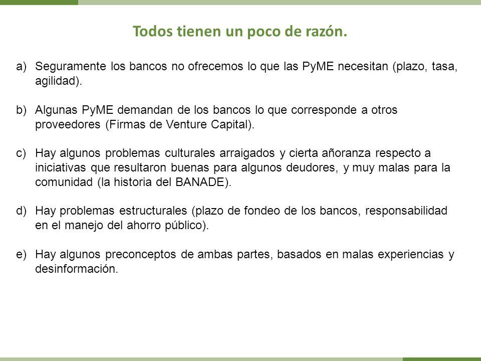 Todos tienen un poco de razón. a)Seguramente los bancos no ofrecemos lo que las PyME necesitan (plazo, tasa, agilidad). b)Algunas PyME demandan de los
