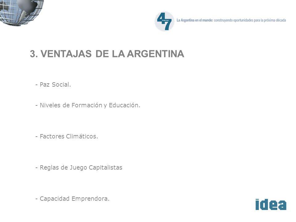 3. VENTAJAS DE LA ARGENTINA - Paz Social. - Niveles de Formación y Educación.