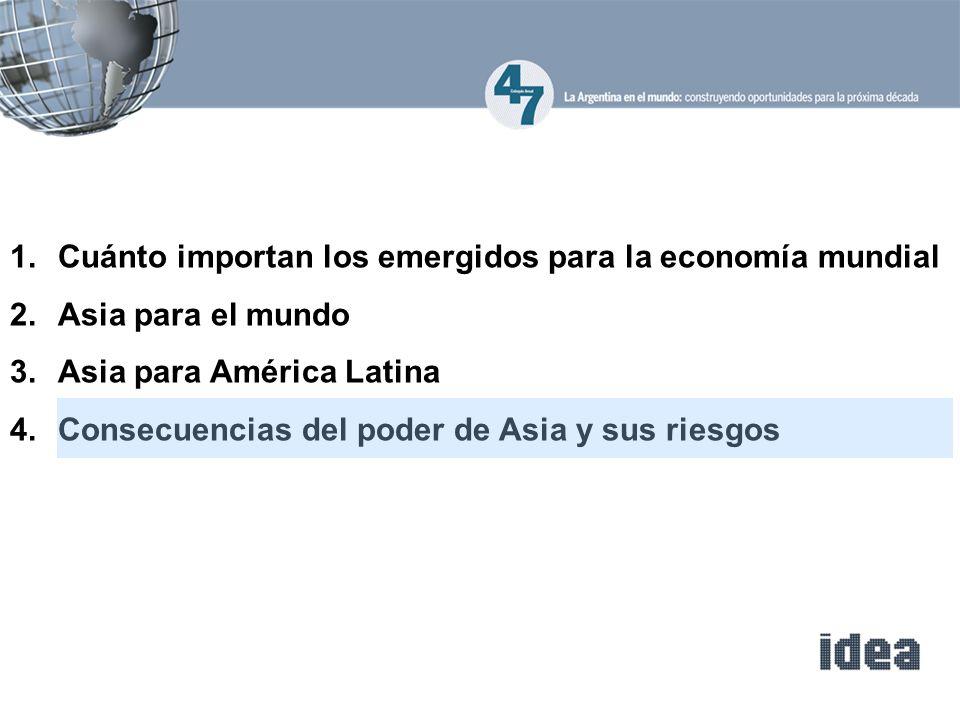 1.Cuánto importan los emergidos para la economía mundial 2.Asia para el mundo 3.Asia para América Latina 4.Consecuencias del poder de Asia y sus riesg
