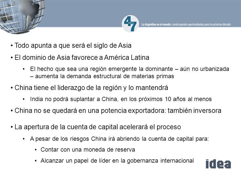 Todo apunta a que será el siglo de Asia El dominio de Asia favorece a América Latina El hecho que sea una región emergente la dominante – aún no urban