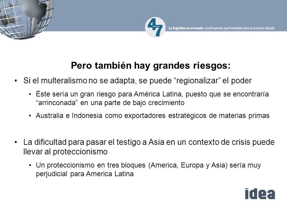 Pero también hay grandes riesgos: Si el multeralismo no se adapta, se puede regionalizar el poder Éste sería un gran riesgo para América Latina, puest