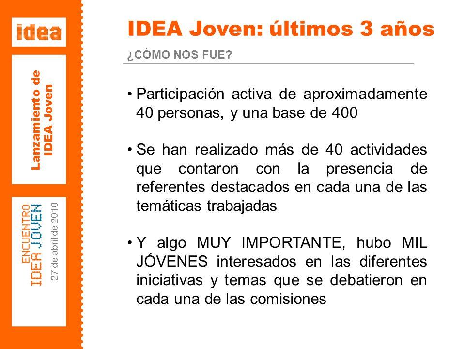 Lanzamiento de IDEA Joven 27 de abril de 2010 Lanzamiento IDEA joven 2010 27 DE ABRIL DE 2010 HOTEL SHERATON BUENOS AIRES
