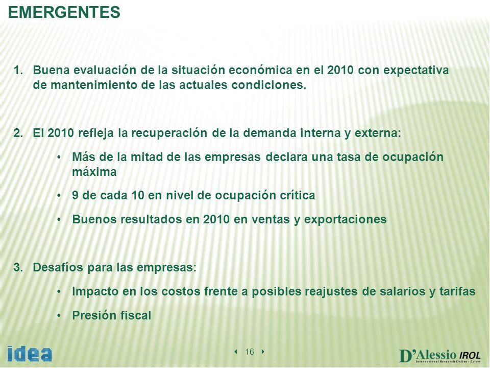 16 EMERGENTES 1.Buena evaluación de la situación económica en el 2010 con expectativa de mantenimiento de las actuales condiciones.