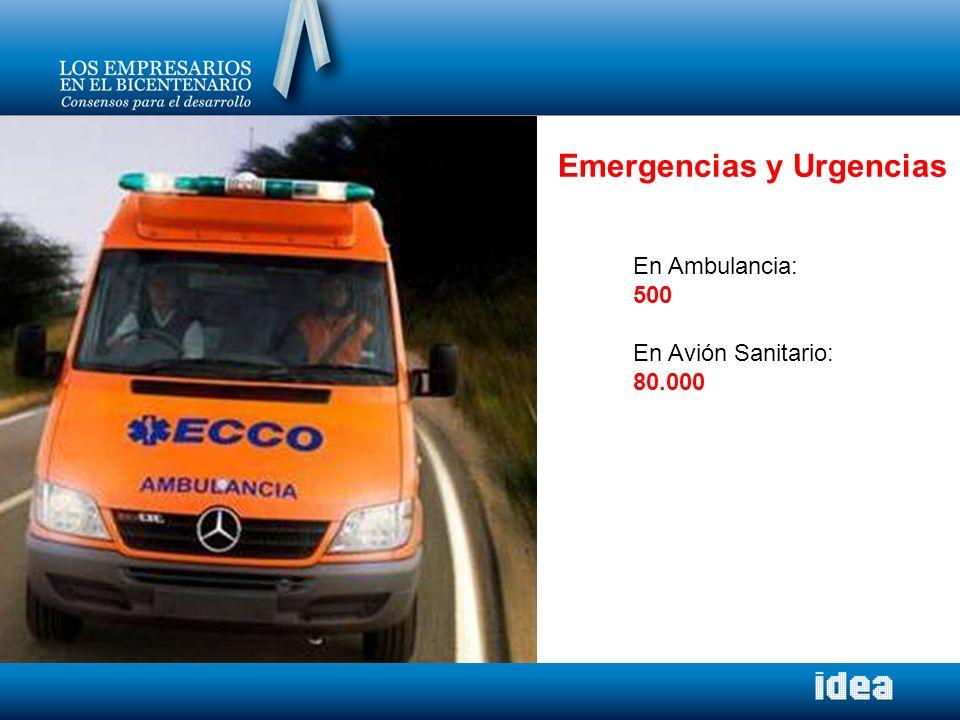 Emergencias y Urgencias En Ambulancia: 500 En Avión Sanitario: 80.000