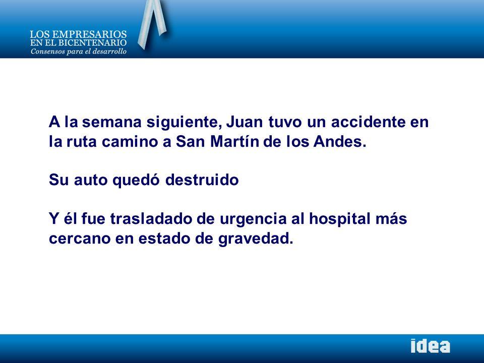 A la semana siguiente, Juan tuvo un accidente en la ruta camino a San Martín de los Andes. Su auto quedó destruido Y él fue trasladado de urgencia al