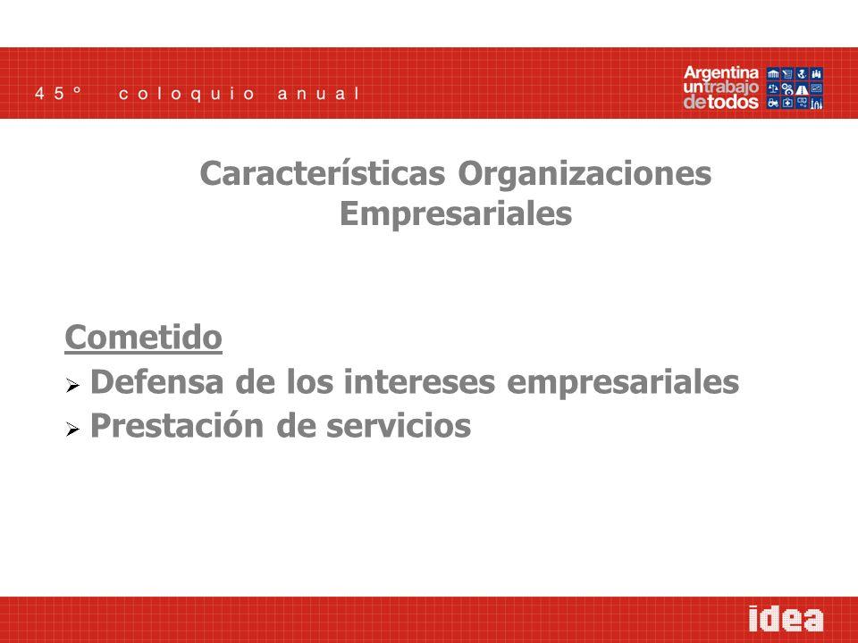 Cometido Defensa de los intereses empresariales Prestación de servicios Características Organizaciones Empresariales