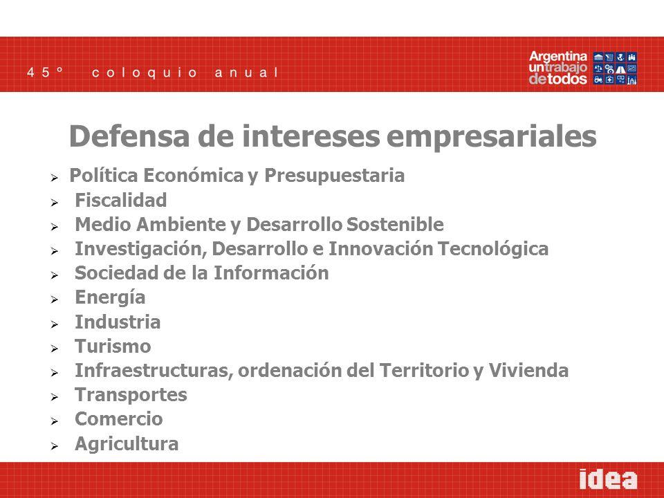 Política Económica y Presupuestaria Fiscalidad Medio Ambiente y Desarrollo Sostenible Investigación, Desarrollo e Innovación Tecnológica Sociedad de l