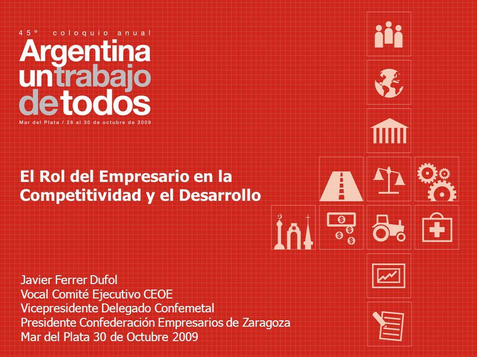 El Rol del Empresario en la Competitividad y el Desarrollo Javier Ferrer Dufol Vocal Comité Ejecutivo CEOE Vicepresidente Delegado Confemetal Presiden