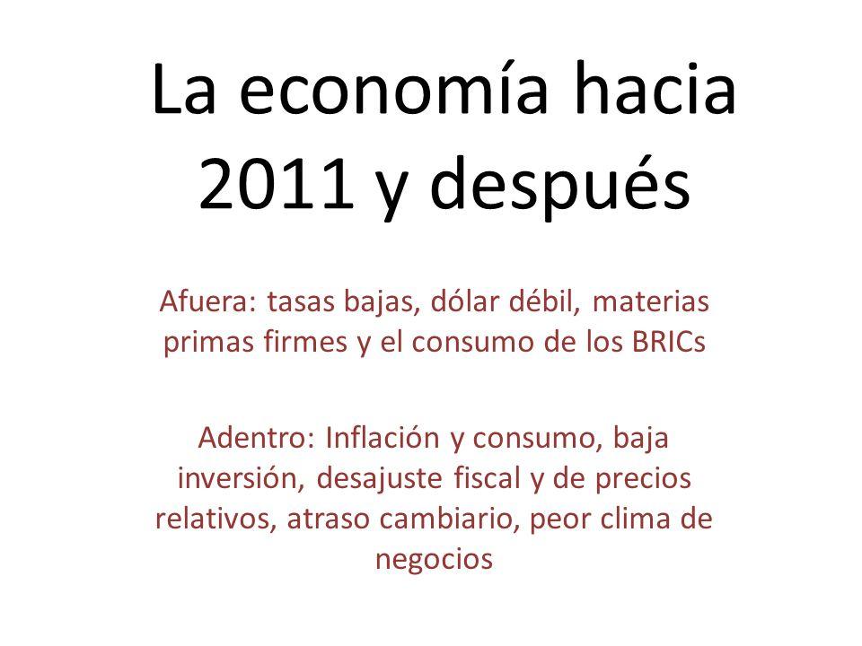 La economía hacia 2011 y después Afuera: tasas bajas, dólar débil, materias primas firmes y el consumo de los BRICs Adentro: Inflación y consumo, baja inversión, desajuste fiscal y de precios relativos, atraso cambiario, peor clima de negocios