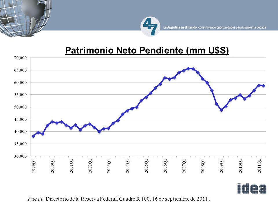 Fuente: Directorio de la Reserva Federal, Cuadro R 100, 16 de septiembre de 2011.