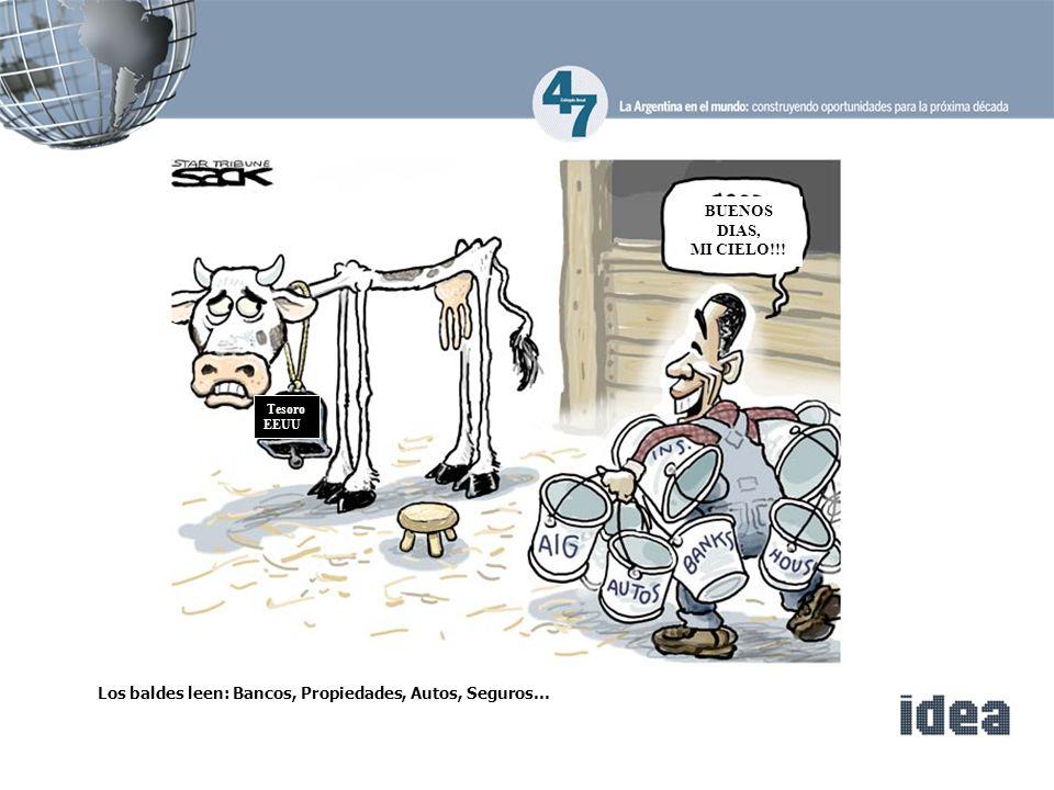 Tesoro EEUU BUENOS DIAS, MI CIELO!!! Los baldes leen: Bancos, Propiedades, Autos, Seguros…