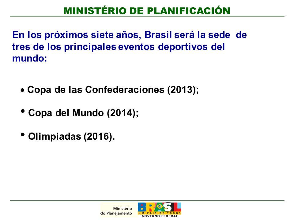 MINISTÉRIO DE PLANIFICACIÓN En los próximos siete años, Brasil será la sede de tres de los principales eventos deportivos del mundo: Copa de las Confederaciones (2013); Copa del Mundo (2014); Olimpiadas (2016).