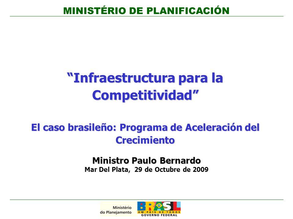 Infraestructura para la Competitividad El caso brasileño: Programa de Aceleración del Crecimiento Ministro Paulo Bernardo Mar Del Plata, 29 de Octubre de 2009 MINISTÉRIO DE PLANIFICACIÓN