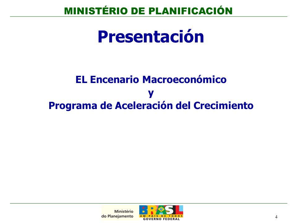 4 Presentación EL Encenario Macroeconómico y Programa de Aceleración del Crecimiento MINISTÉRIO DE PLANIFICACIÓN