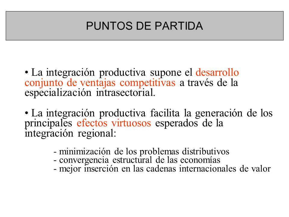 PUNTOS DE PARTIDA La integración productiva supone el desarrollo conjunto de ventajas competitivas a través de la especialización intrasectorial. La i
