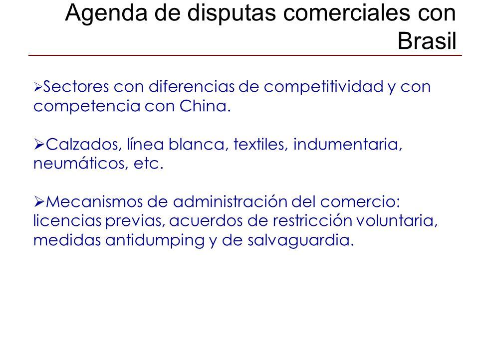 Agenda de disputas comerciales con Brasil Sectores con diferencias de competitividad y con competencia con China. Calzados, línea blanca, textiles, in