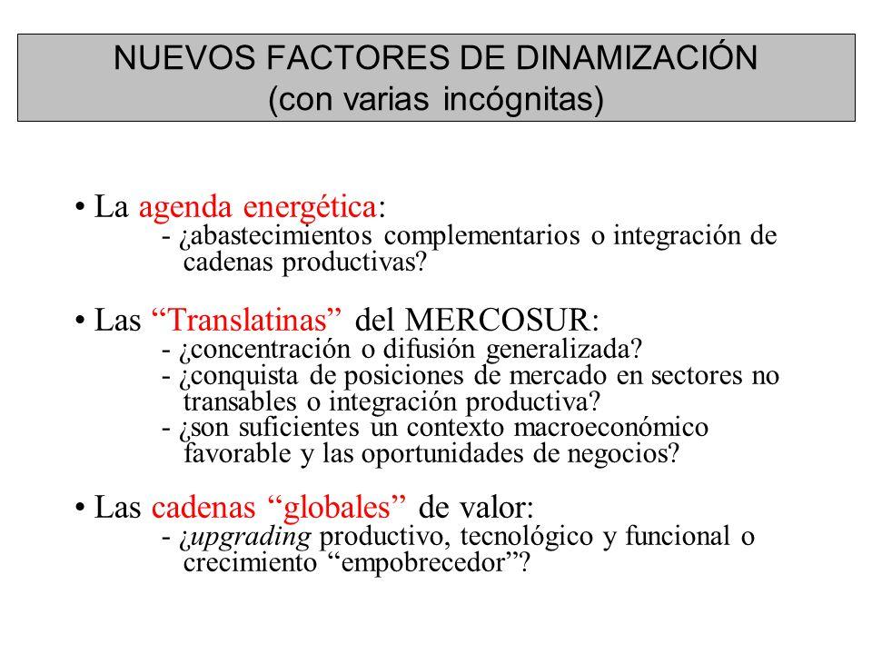 NUEVOS FACTORES DE DINAMIZACIÓN (con varias incógnitas) La agenda energética: - ¿abastecimientos complementarios o integración de cadenas productivas.