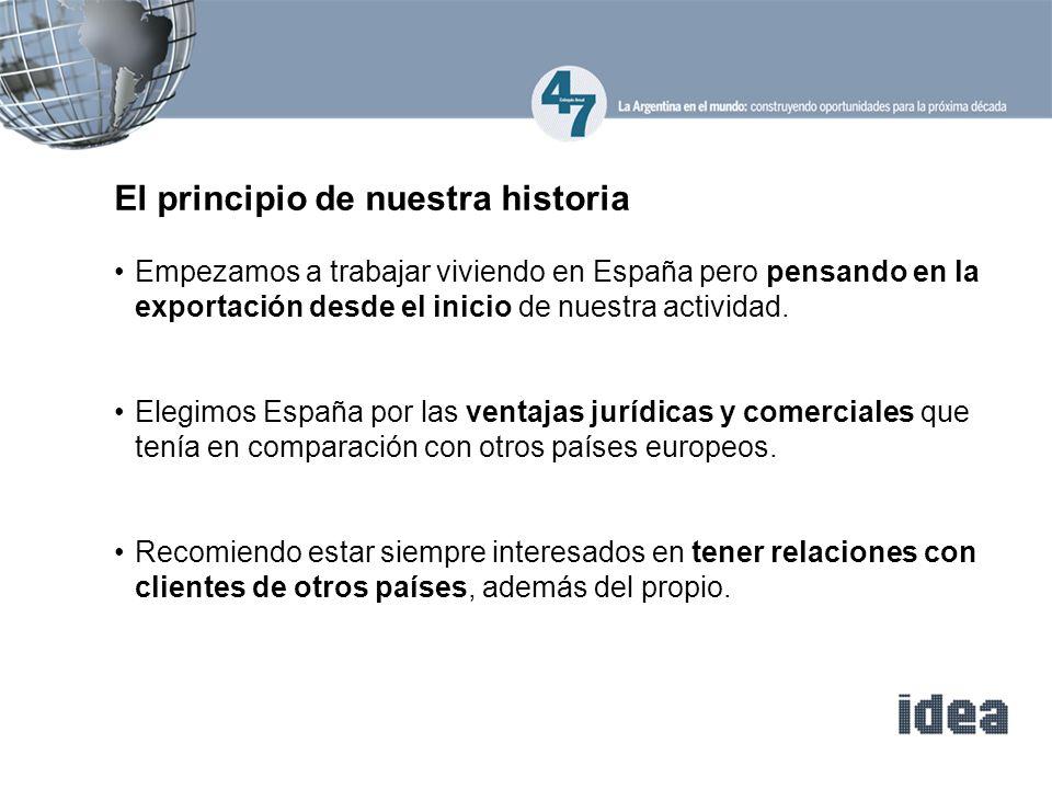 El principio de nuestra historia Empezamos a trabajar viviendo en España pero pensando en la exportación desde el inicio de nuestra actividad. Elegimo