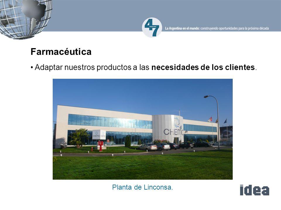 Farmacéutica Adaptar nuestros productos a las necesidades de los clientes. Planta de Linconsa.