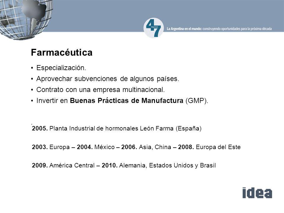 Especialización. Aprovechar subvenciones de algunos países. Contrato con una empresa multinacional. Invertir en Buenas Prácticas de Manufactura (GMP).