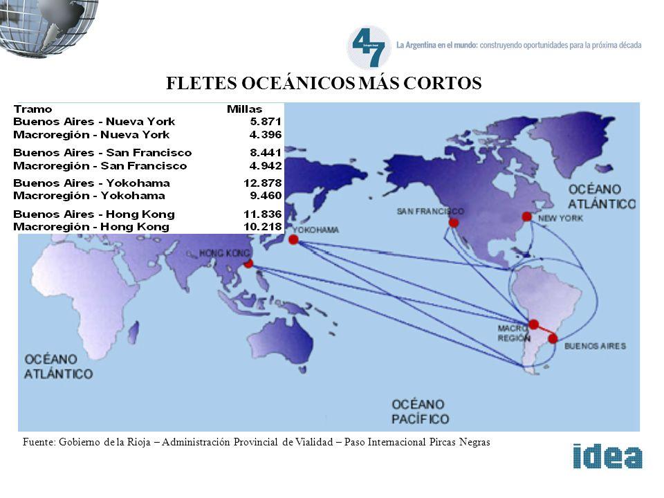 Fuente: Gobierno de la Rioja – Administración Provincial de Vialidad – Paso Internacional Pircas Negras FLETES OCEÁNICOS MÁS CORTOS
